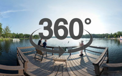 Woodloch Fishing Pier. Text: 360 degree virtual tour.