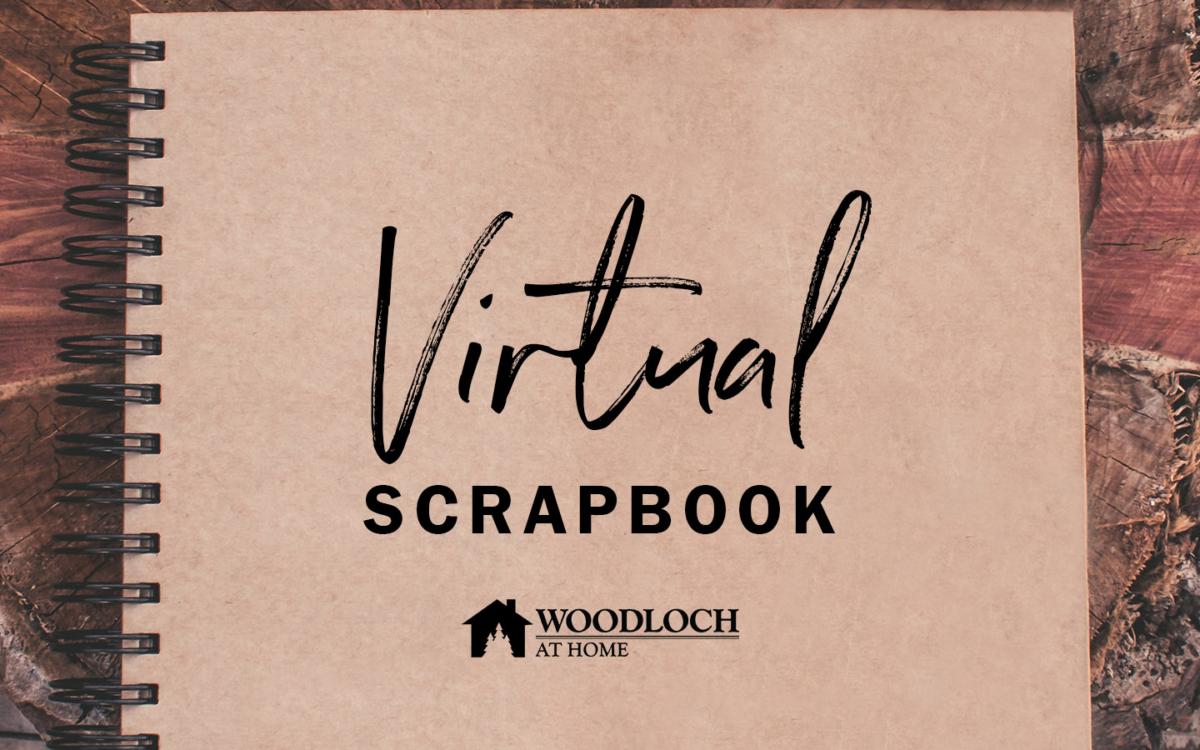 Spiral bound book. Text: Virtual Scrapbook.