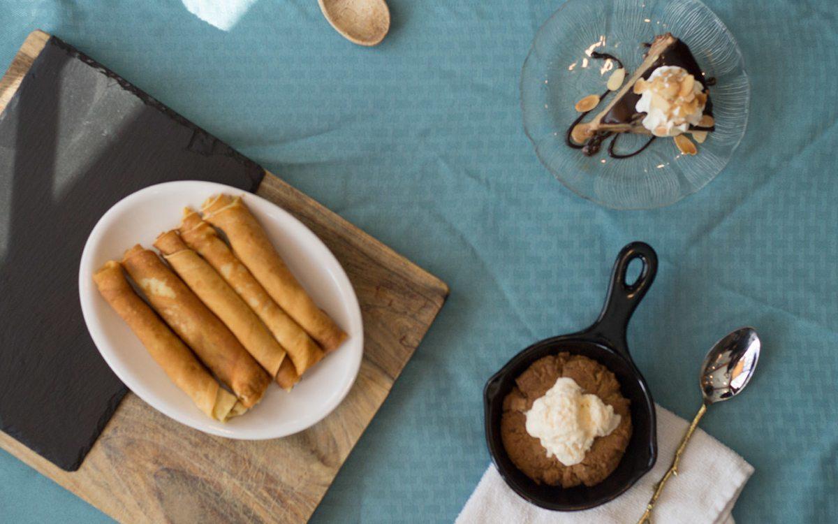 Scandinavian pancakes, mudpie, skillet cookie.