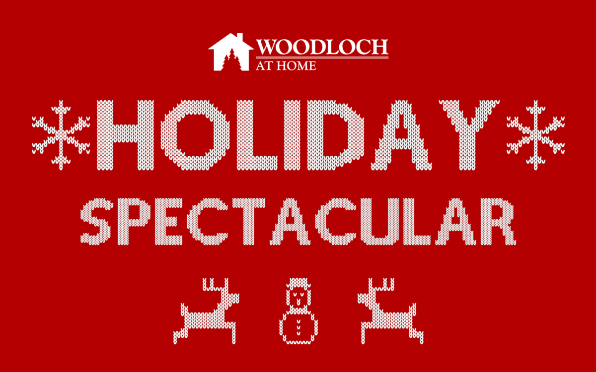 Snowman, snowflake and reindeer graphics. Text: Holiday Spectacular.