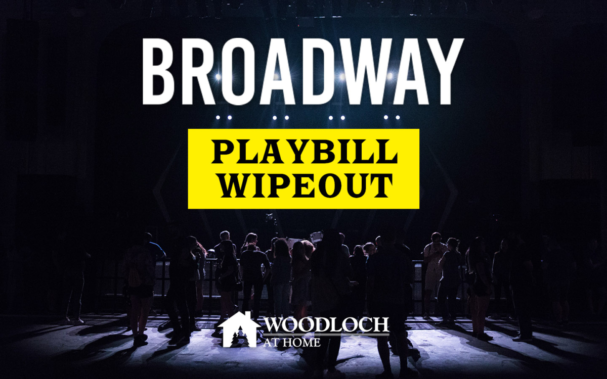 People in shadow on stage. Text: Broadway Playbill Wipeout, Woodloch at Home.