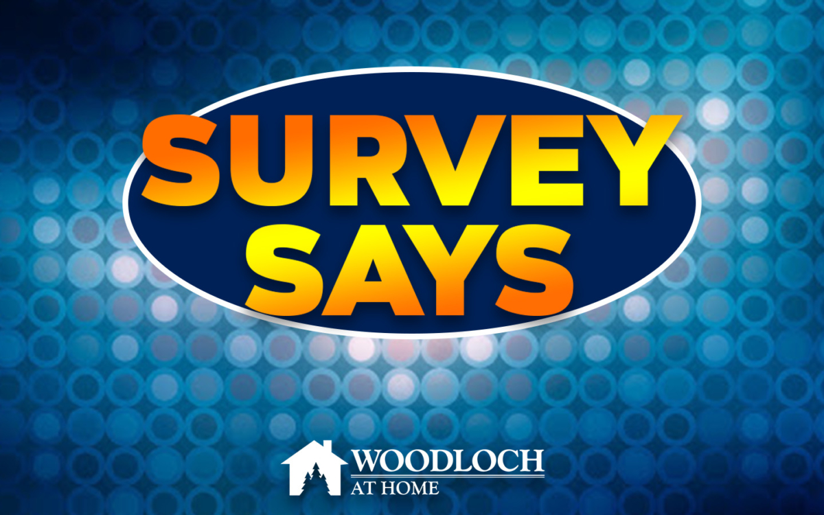 Text: Survey Says, Woodloch at Home.
