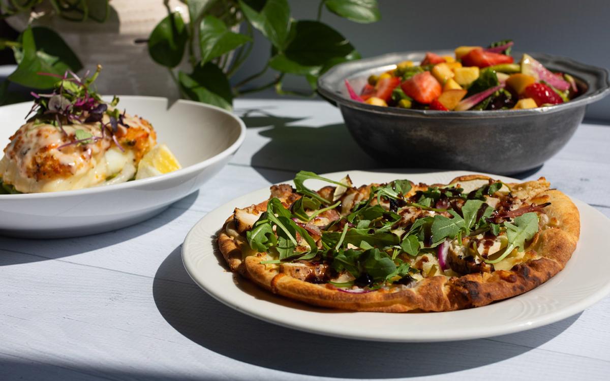 Seafood Encrusted Haddock, Apple & Ham Flatbread, fruit bowl.