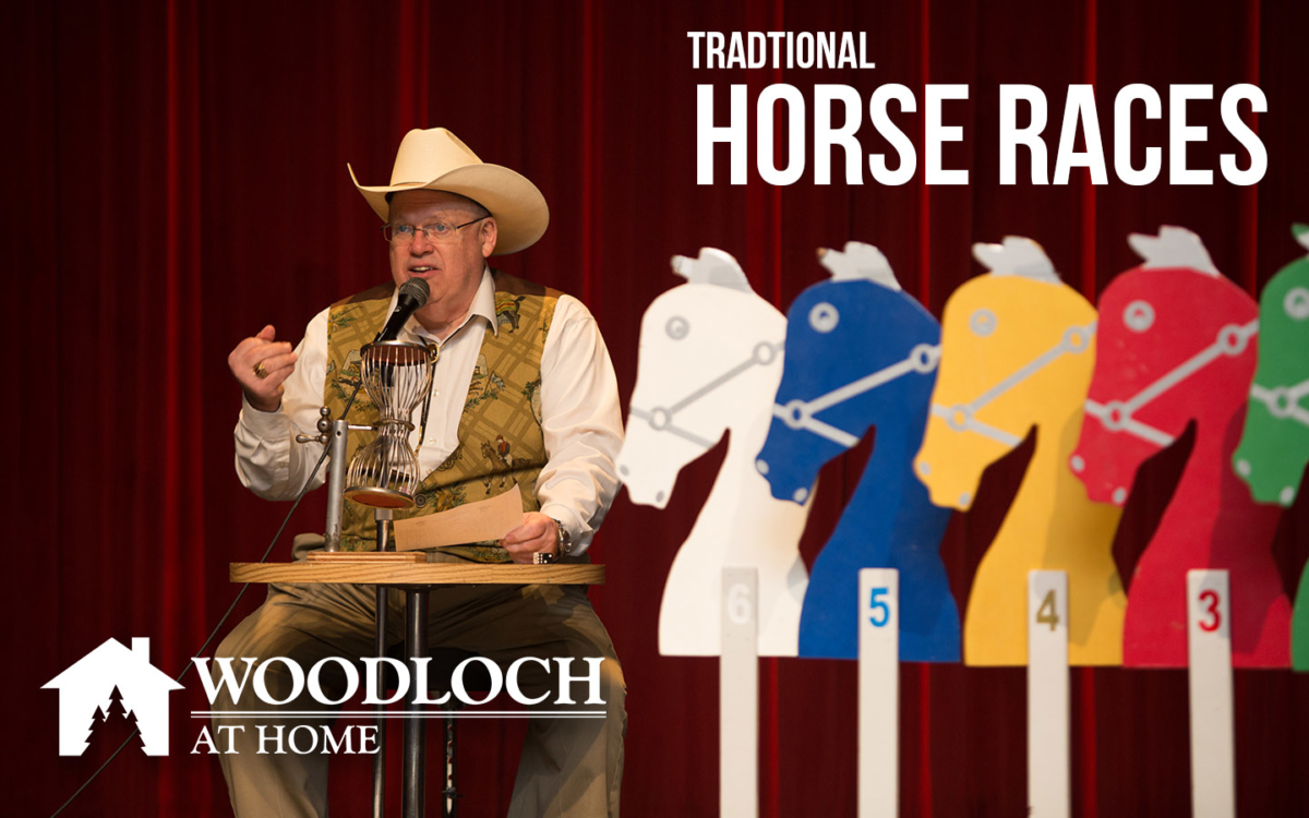 Horse races emcee and wooden horses. Text: Traditional Horse Races, Woodloch at Home.